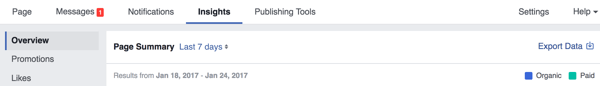 Go to the Overview tab to export your Facebook Insights data.