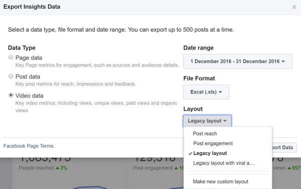 When you export your Facebook Video Data file, you need to choose which layout to download.