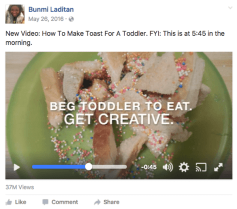 Author Bunmi Laditan used a few images and well-chosen text to create a funny video.
