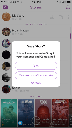 Tap Yes to save your Snapchat story.