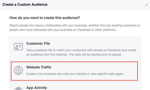 Create a Facebook custom audience based on website traffic.