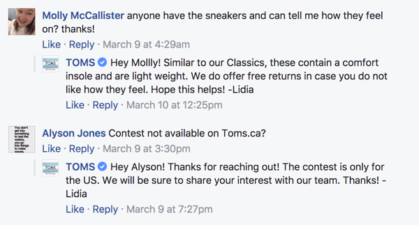When Facebook fans leave comments on your posts, be sure to respond.