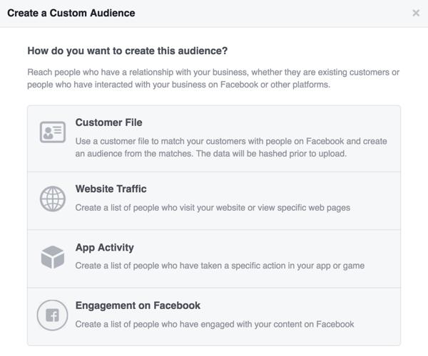 Seleccione la fuente que desea utilizar para su audiencia personalizada de Facebook.