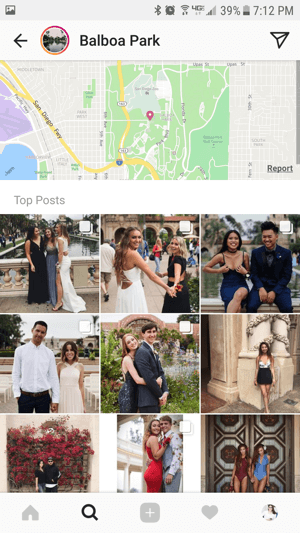 If recent stories are available for a location sticker, the story ring will appear at the top of the location's search page.