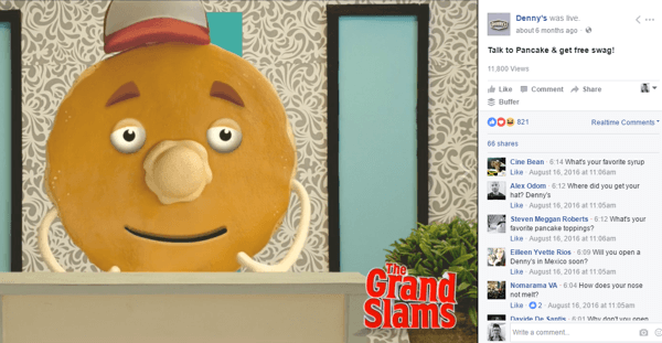 Denny's Facebook Live Q&A with a pancake was pure branded gold.