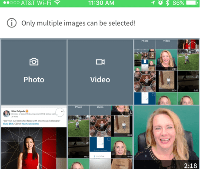 Select A Video From Your Camera Roll Or Record A New One For Linkedin