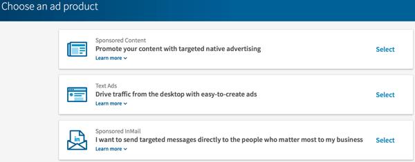 Wählen Sie den Typ der LinkedIn-Anzeige aus, die Sie erstellen möchten.