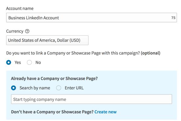 Geben Sie Details ein, um Ihr LinkedIn-Werbekonto einzurichten.