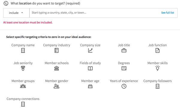 LinkedIn bietet diese Optionen an, um Ihre Ausrichtung basierend auf Arbeitsdetails zu verfeinern.