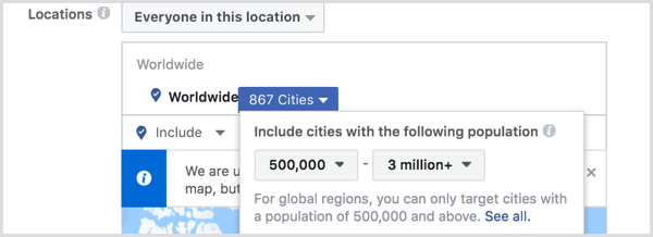 Facebook ads manager create saved audience location targeting