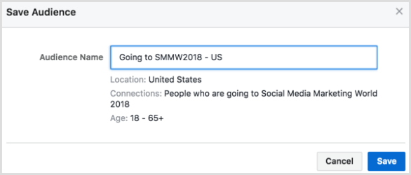 Facebook ad targeting connections save audience