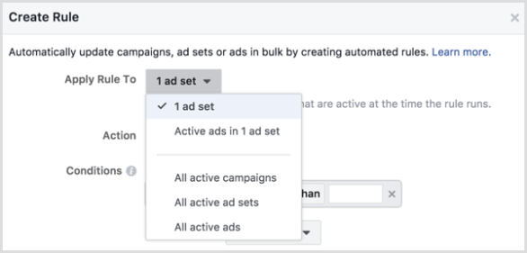 Facebook Ads Manager create rule