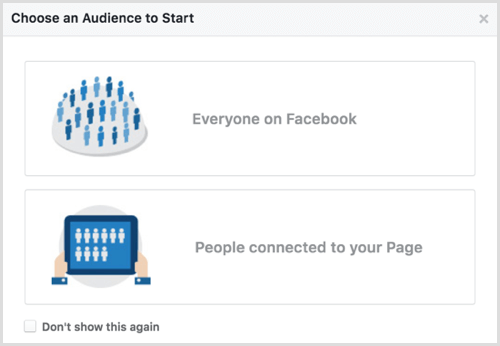 Facebook Audience Insights choose audience to start