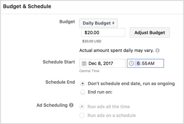 Facebook erstellt einen Zeitplan für Werbekampagnen