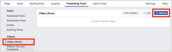 Facebook-Seite Videobibliothek hochladen