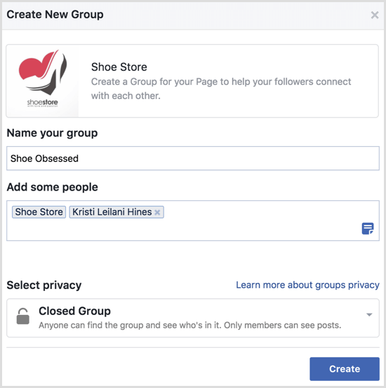 Facebook create group with page
