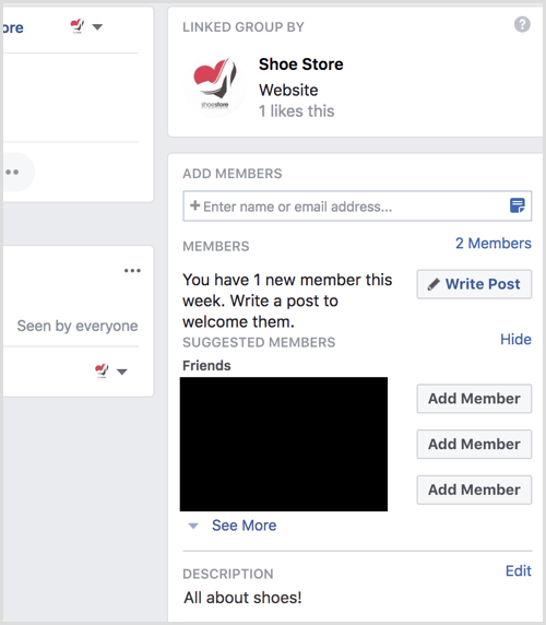 Facebook group info