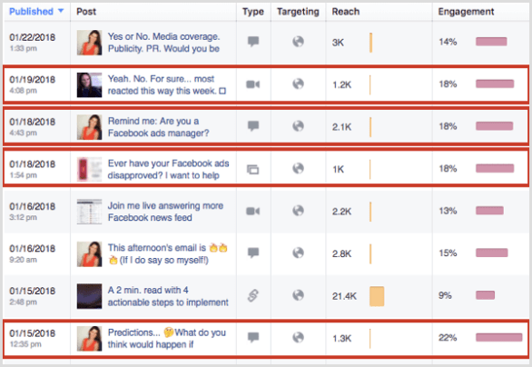 Facebook Page Insights See All Posts top engagement