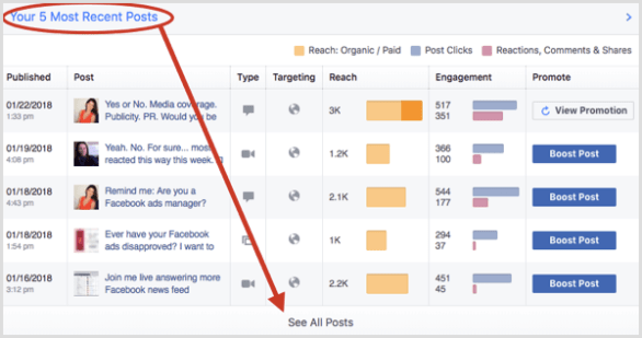 Facebook Page Insights See All Posts