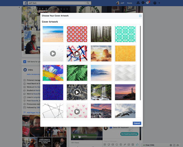 Facebook now allows users to select a video for a profile cover image from the Artwork library.