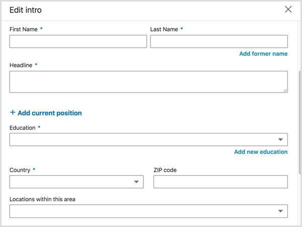 Edit Intro dialog box where you edit your LinkedIn profile headline