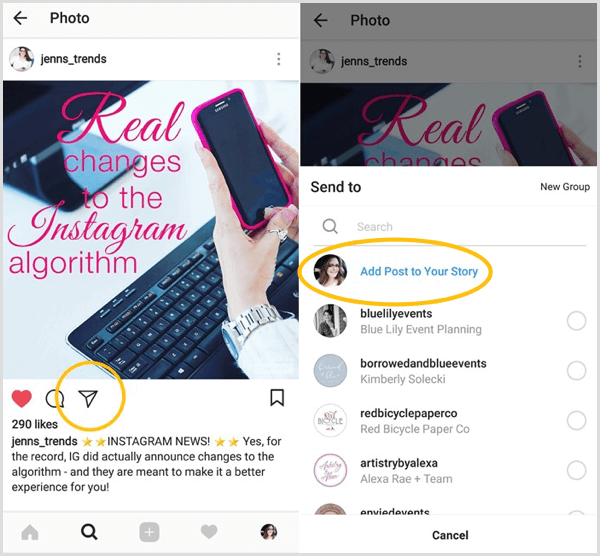 Look for the Add Post to Your Story option to see if you have access to the Instagram reshare feature.