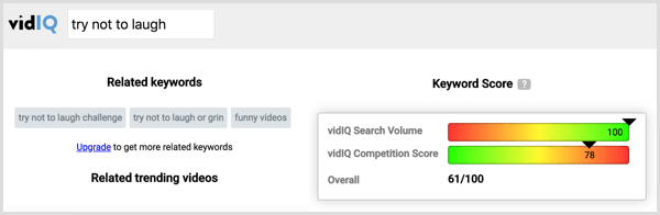 Click a competitor's tag in VidIQ to see the search volume and competition for that tag.
