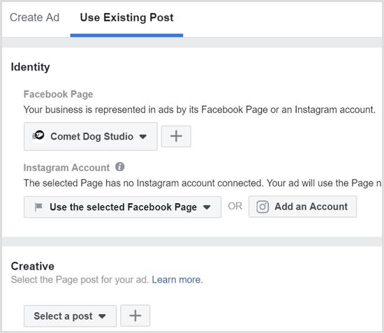 Sélectionnez une publication que vous avez déjà publiée sur votre page Facebook.