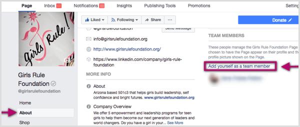 Facebook Fügen Sie sich als Teammitglied-Link für die Facebook-Seite hinzu