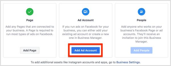 Cliquez sur le bouton Ajouter un compte d'annonce.