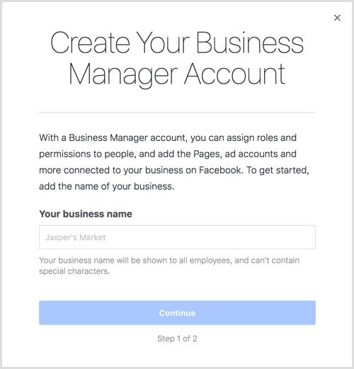 Entrez le nom de votre entreprise pour créer votre compte Business Manager.
