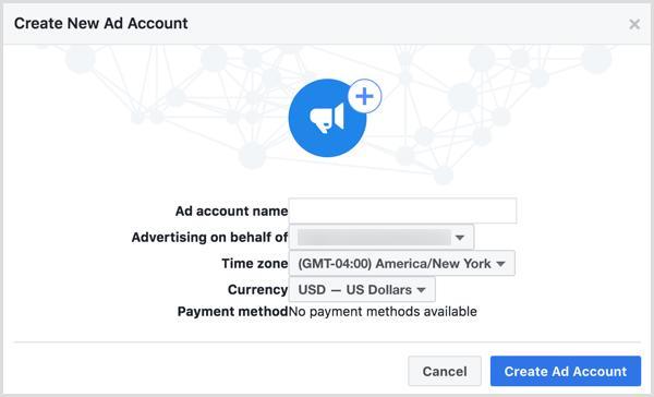 Utilisez le nom de votre entreprise lorsque vous êtes invité à nommer votre nouveau compte d'annonce Facebook.