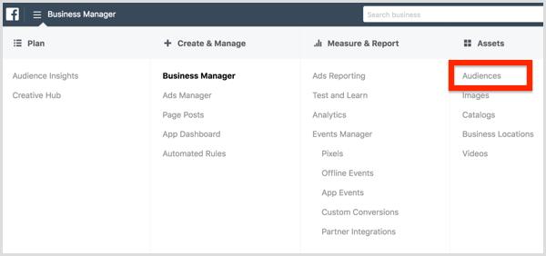 Sélectionnez Audiences dans le menu Facebook Business Manager.