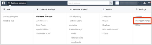Sélectionnez Paramètres de l'entreprise dans le menu Gestionnaire de l'entreprise.