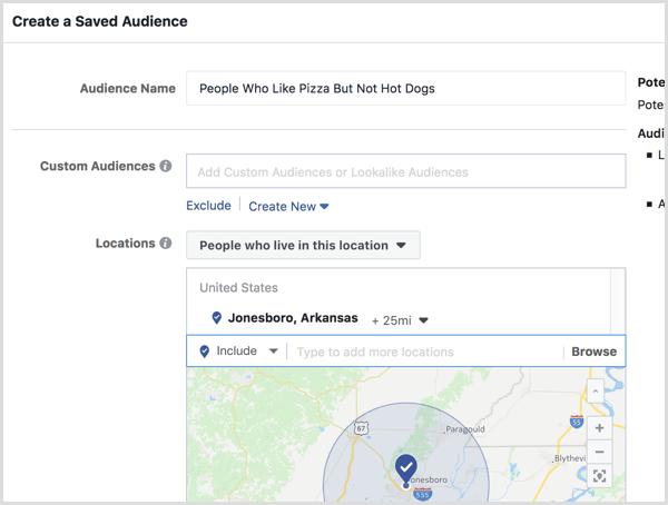 Configurez le ciblage géographique pour votre audience enregistrée.