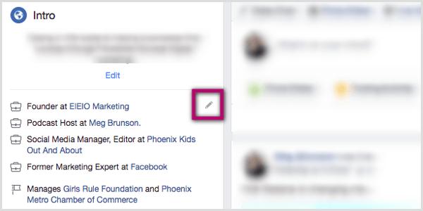 Stiftsymbol im Intro-Bereich des Facebook-Profils
