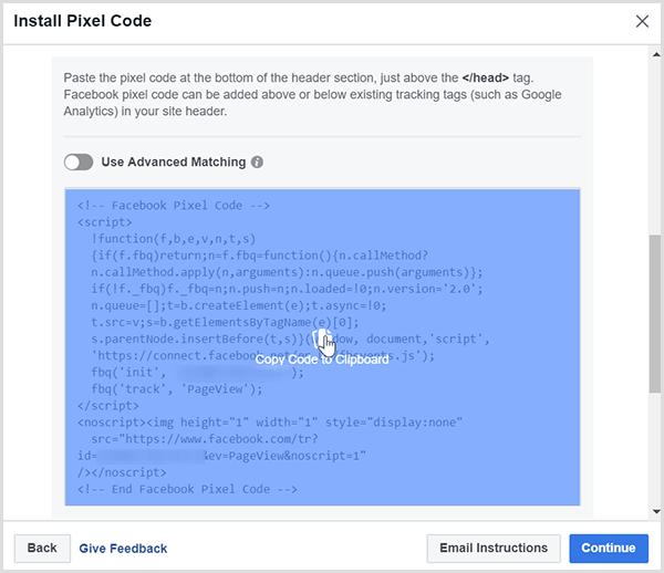 Cliquez sur l'option Copier le code dans le Presse-papiers.