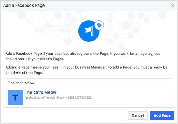Sélectionnez votre page Facebook et cliquez sur Ajouter une page.