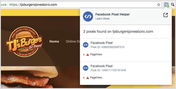 Utilisez l'extension Facebook Pixel Helper pour voir si votre pixel fonctionne.