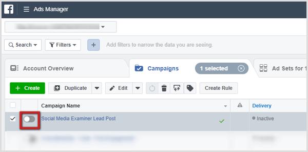 Aktivieren Sie diese Option, um die Kampagne im Anzeigenmanager zu aktivieren.
