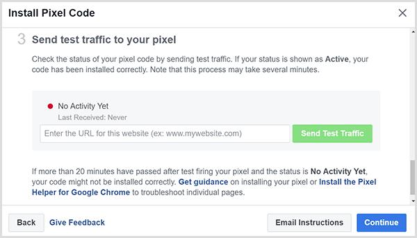 Entrez l'adresse de votre site Web et cliquez sur le bouton Envoyer un test de trafic.