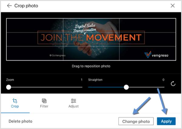 LinkedIn change background photo