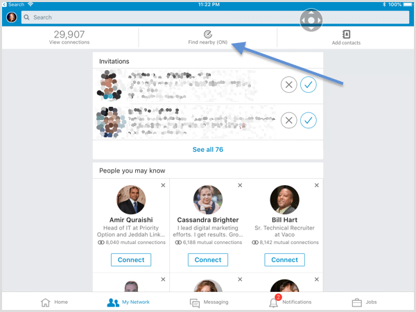 LinkedIn Find Nearby feature