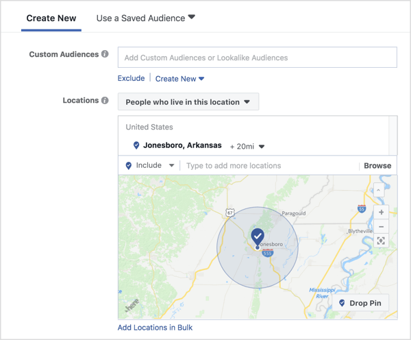 Select targeting for a Facebook engagement ad.