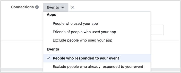 target Facebook ads to people who responded to event