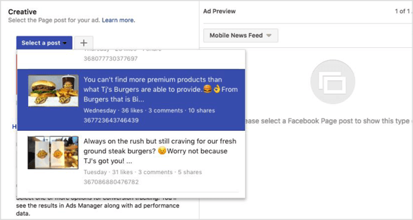 Select a Facebook post for your campaign.