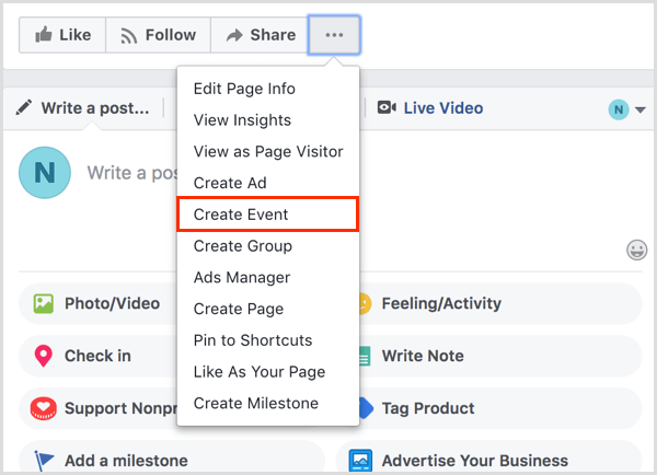create event from Facebook page