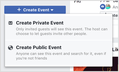 Create Event drop-down list options on Facebook Events page