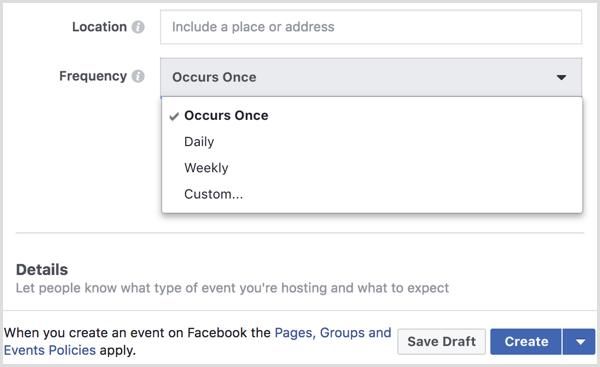 select interval from Frequency menu to create recurring event with Facebook page