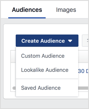 Create Audience drop-down menu options on Facebook Audiences page